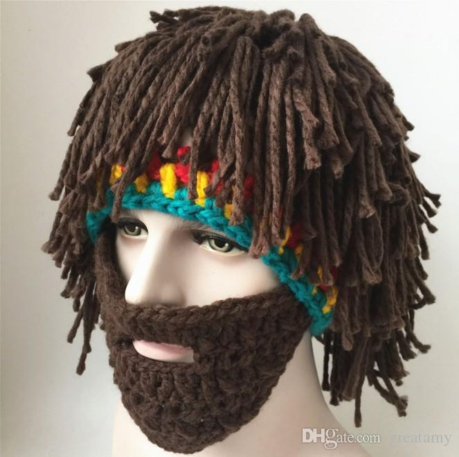 Fashion Brand Personality Beard Hair Tassels Hand Knitted Wool Hat Autumn And Winter Warm Hat Acrylic Cool Beanies