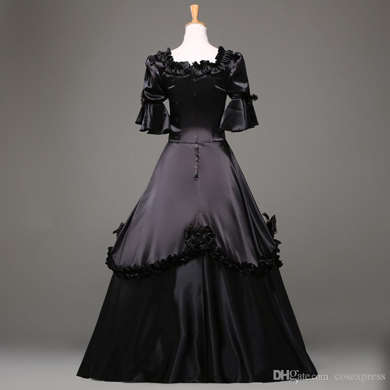 2015 moda preto manga curta gótico vestido vitoriano vestido de festa de Halloween traje personalizado