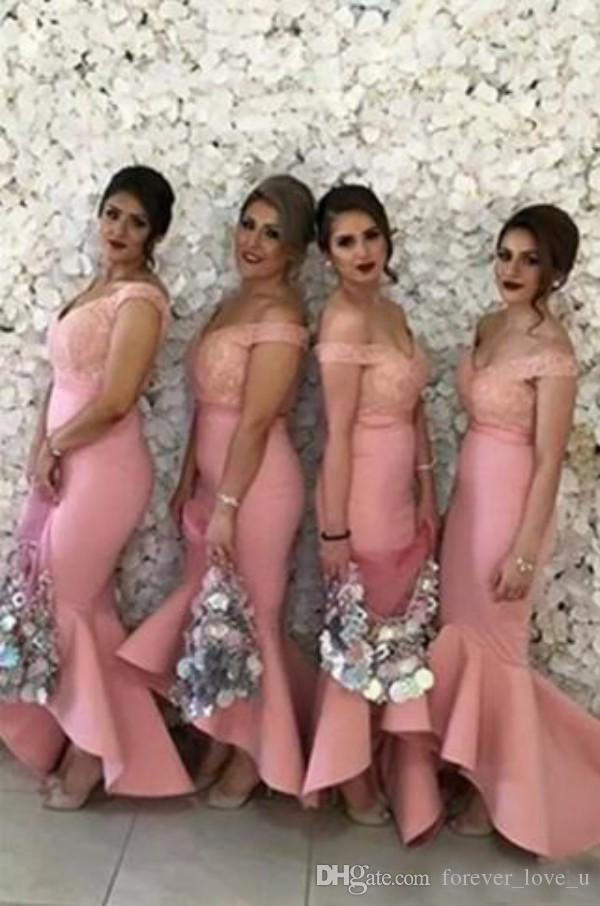 Fitted Bridesmaids Dresses Blush Pink Coral Peach Off the Shoulder Lace Top High Low Asymmetrical Skirt Bridemaid Dress for Wedding