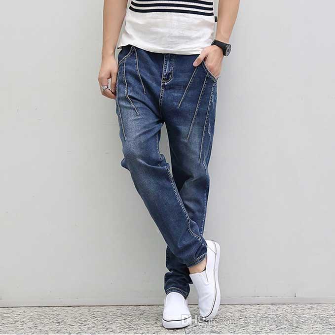 fab3abef1a2e16 Moda masculina Plus Size Baggy Harem Jeans Dobre Skinny Jeans Homens Alta  Trecho Calças Azuis Calça Jeans Homens HipHop Denim Jeans M-4XL