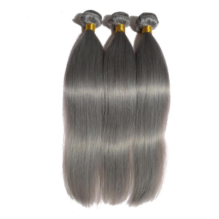 "Fashion 12-26"" Silver Grey Brizalian Hair Extensions 3 Bundles Silky Straight Brazilian Human Hair Weft Gray Sew In Hair Extensions"