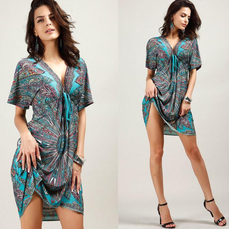 Plus Size Ladies Bohemian Summer Dresses For Women Clothes Loose