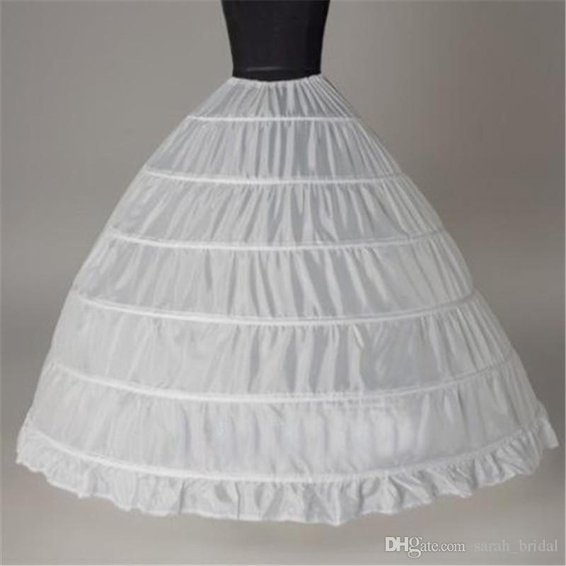 Toptan 6 Çemberler Balo Beyaz Gelin Petticoat Kemik Tam Kabarık Etek Tül Uzun Kabarık Düğün Petticoat Ucuz Basit Stokta
