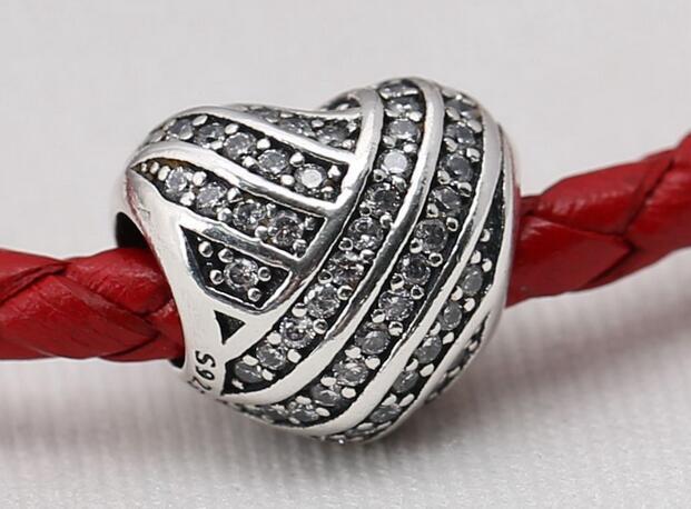 2016 encantos del día de la madre 925 cuentas de plata esterlina con cz Love Lines adapta para Pandora pulseras auténtico original de la joyería DIY al por mayor