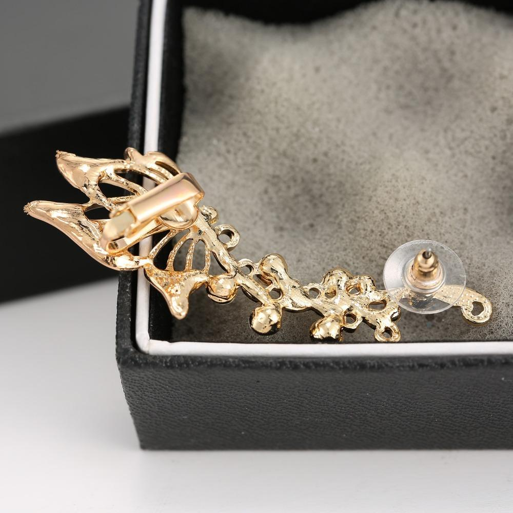 Ear Cuff Clip On The Ear Jewelry for women girl New Fashion Exquisite Gold Crystal Butterfly Clip Earrings Women