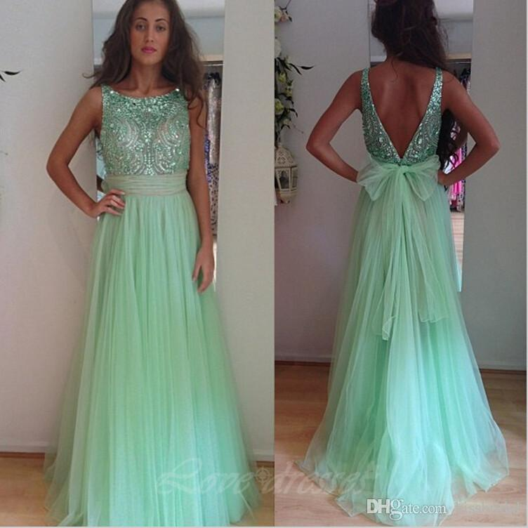 2016 Mint Green Sage Long Prom Dresses Crystal Beads Jewel Neck Sleeveless  V Back Floor Length Tulle 2017 Party Dress Evening Gowns Prom Dress  Designers ...