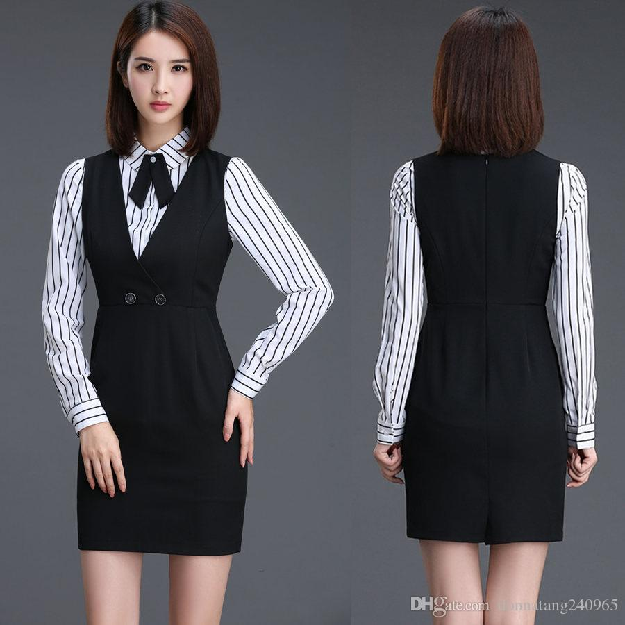 2018 New 2017 Women Formal Vest Dresses Ladies Office Female Dress