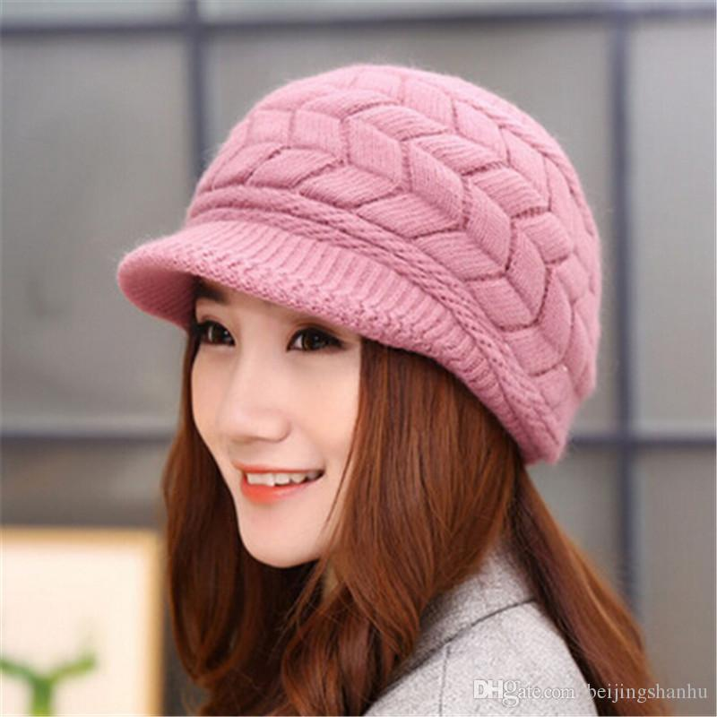2016 New Arrival Elegant Women Knitted Hats Rabbit Fur Cap Autumn Winter Ladies Female Fashion Skullies Hat Wholesale