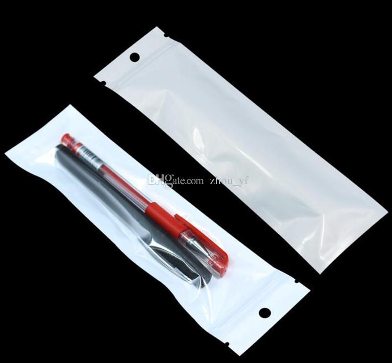 Limpar Pérola Branca De Plástico Poli Sacos OPP Embalagem Zipper Pacote de Bloqueio Acessórios PVC Picaretas De Varejo De Mão Buraco para iPhone Samsung Samsung Celular