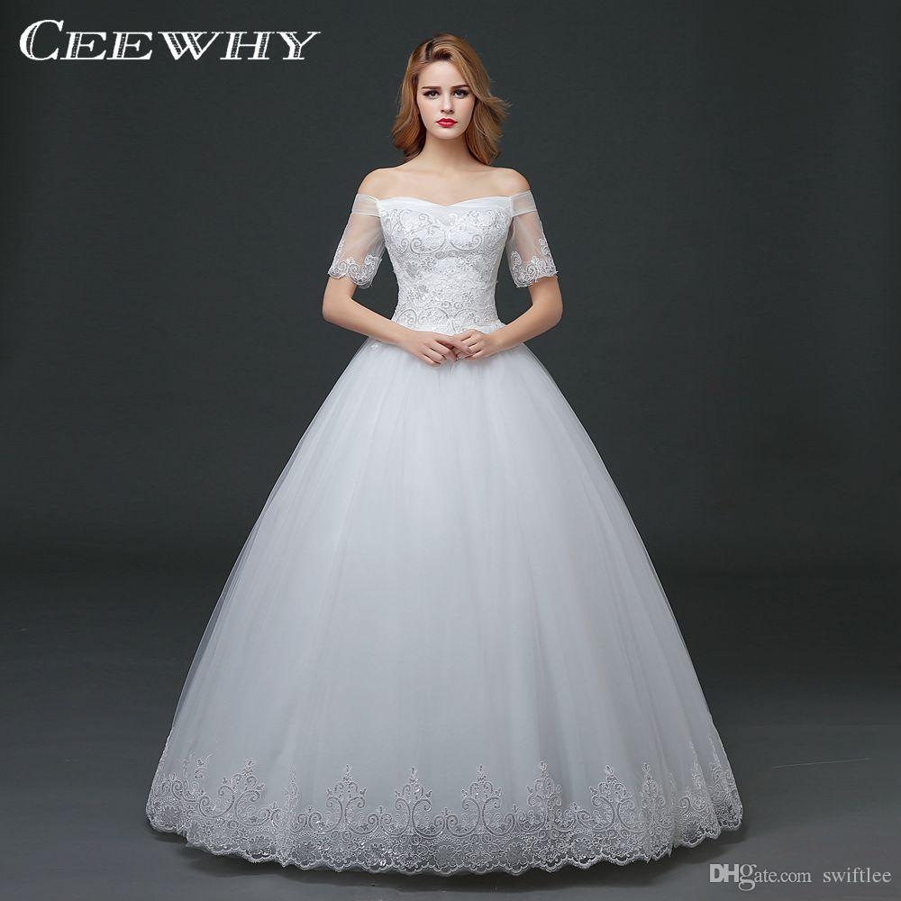 CEEWHY Short Sleeve Boat Neck Back Lace Wedding Dresses Korean Style Floor Length Ball Gown Plus Size Bridal Dresses Vestidos de Novia
