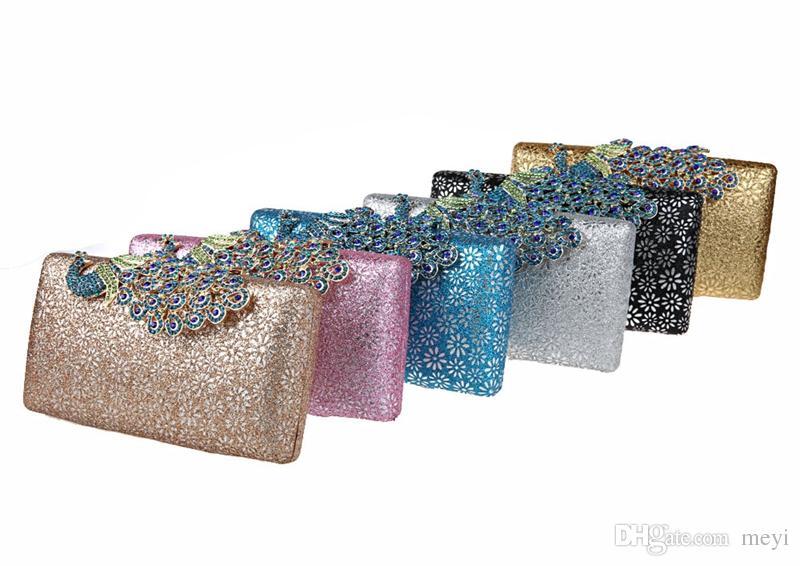 Mini-Pfau Diamant Mode Bankett Abendessen Tasche Tasche cheongsam Kleid Tasche Braut Handtaschen Handtaschen