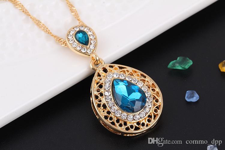 Moda casamento acessórios de cabelo nupcial para mulheres garanhão brincos colar conjuntos de brincos de cristal caem jóias pingentes