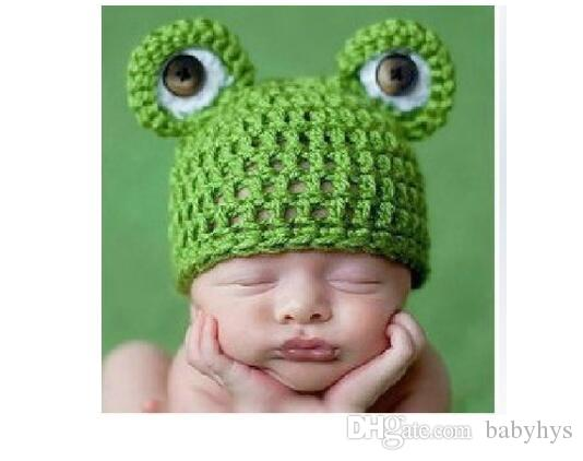 handmade winter frog boy kids knitted funny hats yarn crochet hats photo cltothing for 0-3M hats and blanket