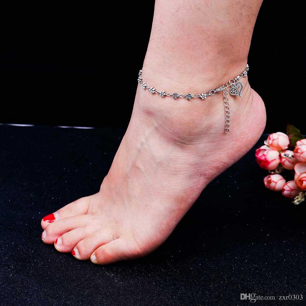 Новая мода ноги женщины ножной браслет цепи Тибетского серебра полые сливы цветы в форме сердца ножной браслет для женщин подарок
