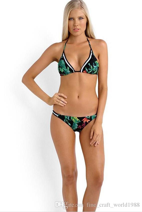 2019 새로운 꽃 트라이앵글 섹시 푸시 업 스트랩 끈 팬티 최고 브래지어 붕대 비키니 세트 여성 수영복 수영복 브라질 수영복