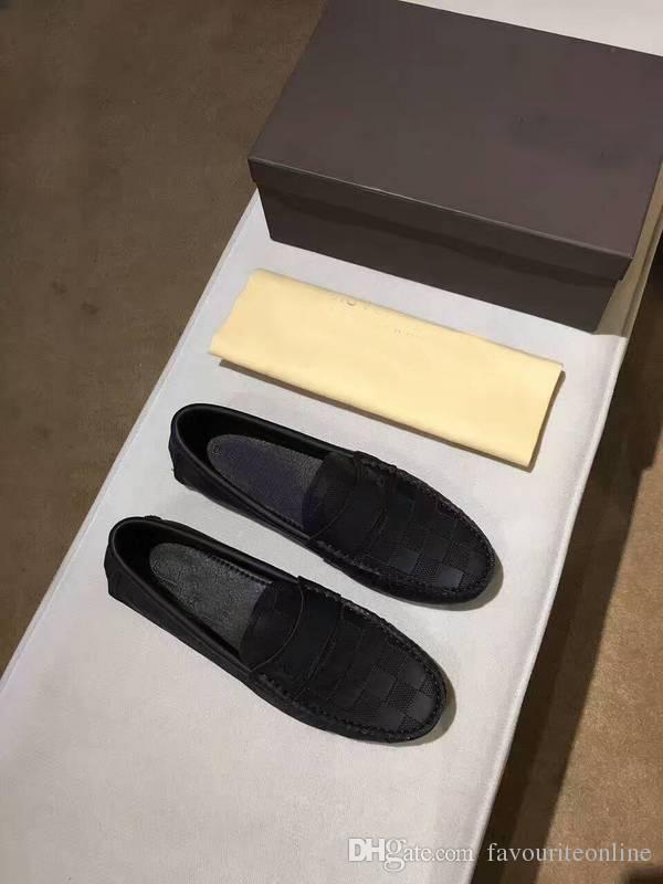 Caja original !!! Nueva moda para hombre holgazanes vestido de cuero de la boda calza los zapatos ocasionales de la caminata París Office Drive tacón plano de calidad superior Size38-44