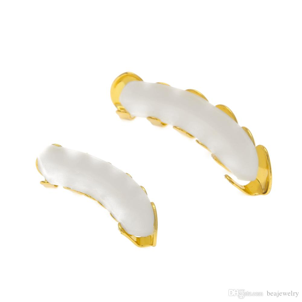 REAL SHINY New 18k Gold rhodiniert HipHop Zähne Grillz Caps Top Bottom Grill Set für Männer