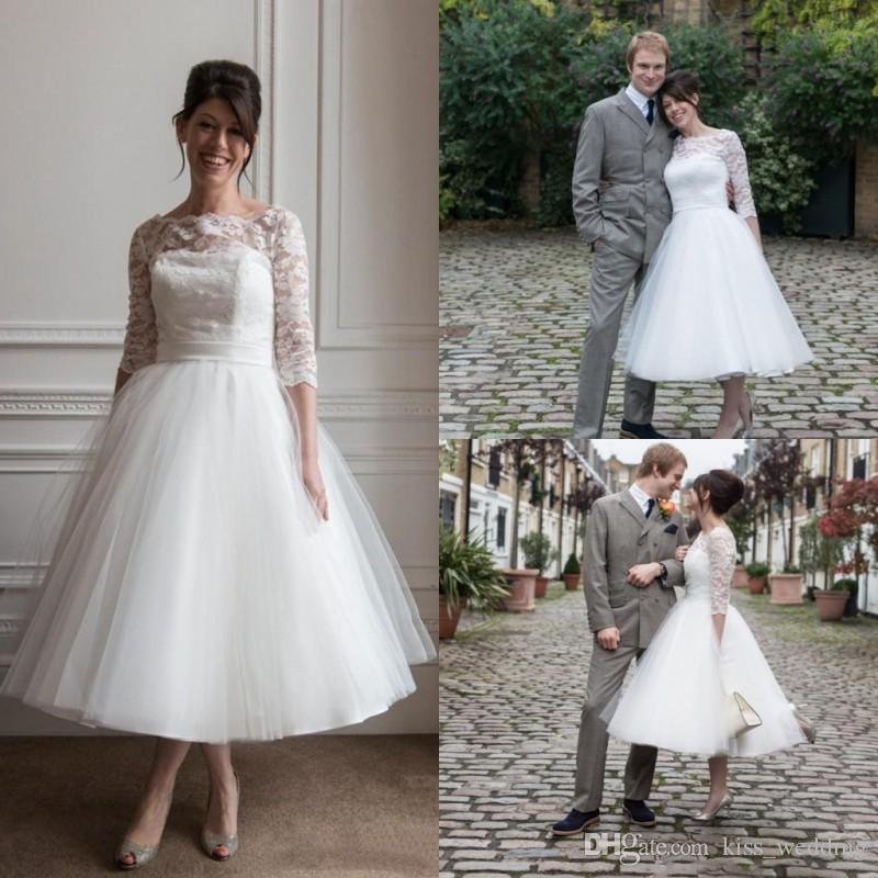 96c37953e93 Discount Ivory Beach Wedding Dress Vintage Tea Length 3 4 Long Sleeves  Bridal Gowns Lace Bateau Neckline 2016 Wedding Gown Plus Size Affordable  Bridal Gowns ...