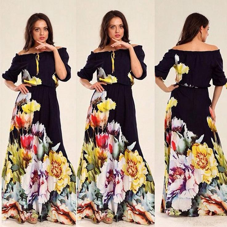 New Plus Size Long Summer Dresses For Womens Fifth Printing Collar