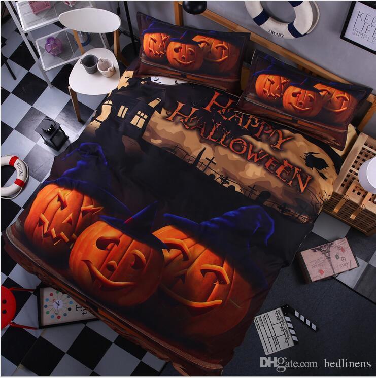 Amazing Halloween pumpkin 3D Bedding Sets Cartoon Bedspread Twin Full Queen King Size Bed Duvet Covers Children's Girls Adult Bedroom Decor