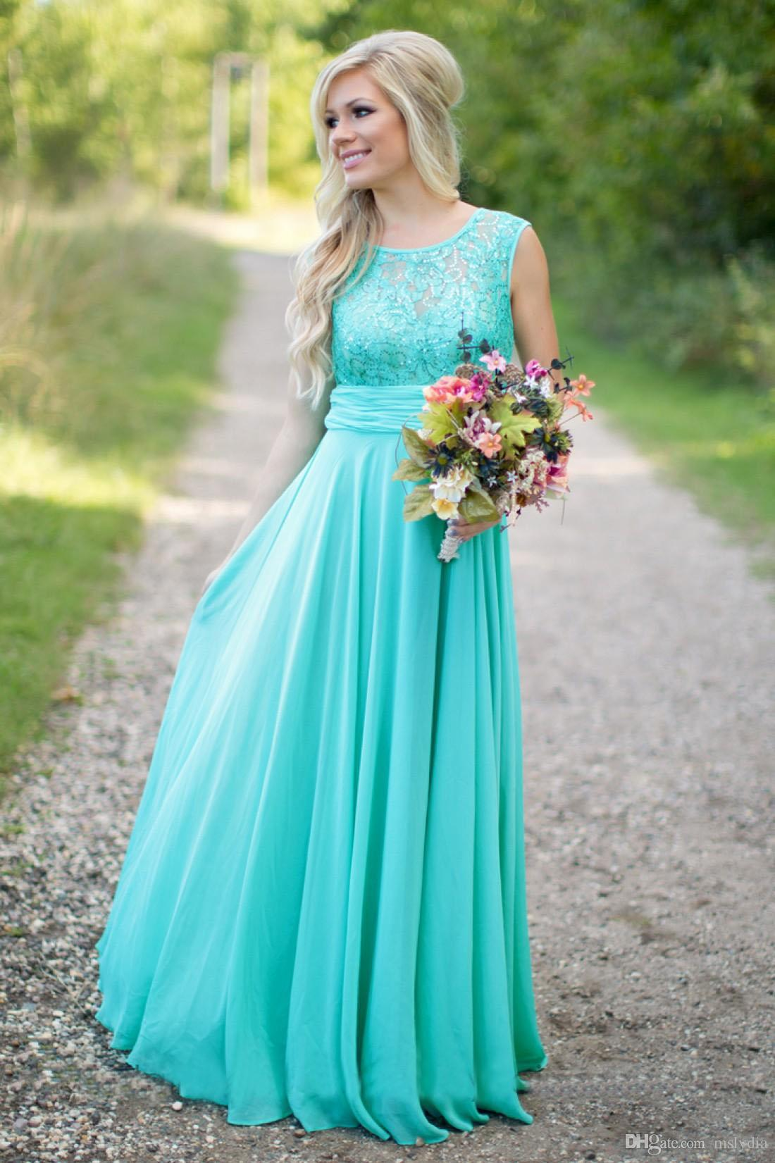 2018 new long bridesmaid dresses lace top chiffon skirt turquoise 2018 new long bridesmaid dresses lace top chiffon skirt turquoise floor length jewel neck country wedding guest dress gown alternative bridesmaid dresses ombrellifo Image collections