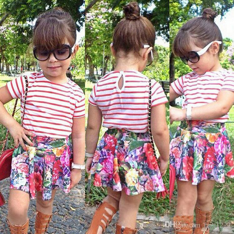 New Summer Girls Striped T-Shirt Tops Tee + Floral Skirts Outfits Children Baby Toddlers Striped Short Sleeve Short Dresses Clothing Sets