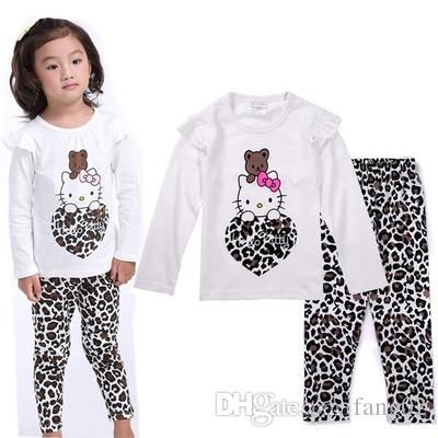 b0dbd894b Compre Leopardo Hello Kitty Pijamas De Las Niñas Conjunto Moda Bebé Niñas  Traje De Ropa Niños Pijama Ropa De Ocio 100% Algodón Kid Ropa De Dormir A   8.75 ...