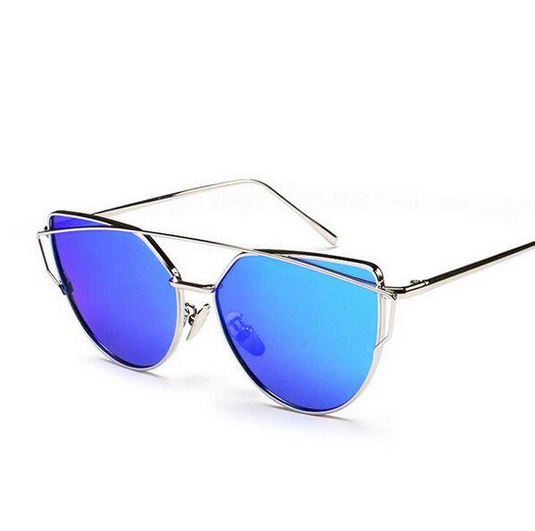 52319e1da1 Compre 2016 NUEVAS Gafas De Sol Mujeres Gafas De Ojo De Gato Diseñador De  La Marca De Moda De Las Señoras Gemelas Gafas De Sol Espejo De  Revestimiento Gafas ...