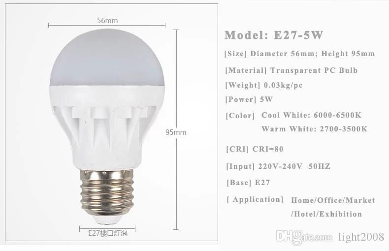 الشحن مجانا جودة عالية 3W 5W 7W 9W 12W LED لمبات موفرة للطاقة الضوء E27، B22، E14، قاعدة غلوب ضوء اللمبة بالجملة أدي رخيصة مصباح 22