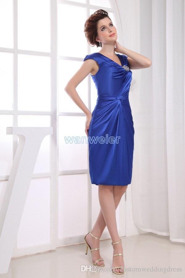 vestido de fiesta de envío gratis 2018 royal blue new design tren rebordear novias vestido de dama de honor corto sexy vestidos de Madre de la Novia