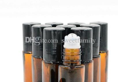 10 ml 1/3 oz AMBER Rolo De Vidro Grosso Em Óleos Essenciais Garrafa + Bola De Rolamento de Aço Inoxidável POR DHL Frete Grátis 1000 pçs / lote