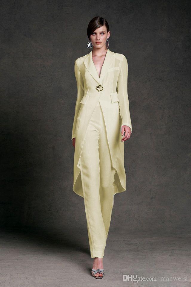 Elegante Mutter von Brautkleidern mit Jacke für Hochzeit V-ausschnitt Mutters Anzug Langarm Perlen Formale Abendkleid