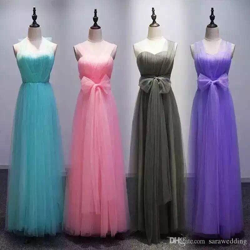 Soft Tulle Convertible Bridesmaid Dresses 2018 Long Bridesmaid Gowns ...