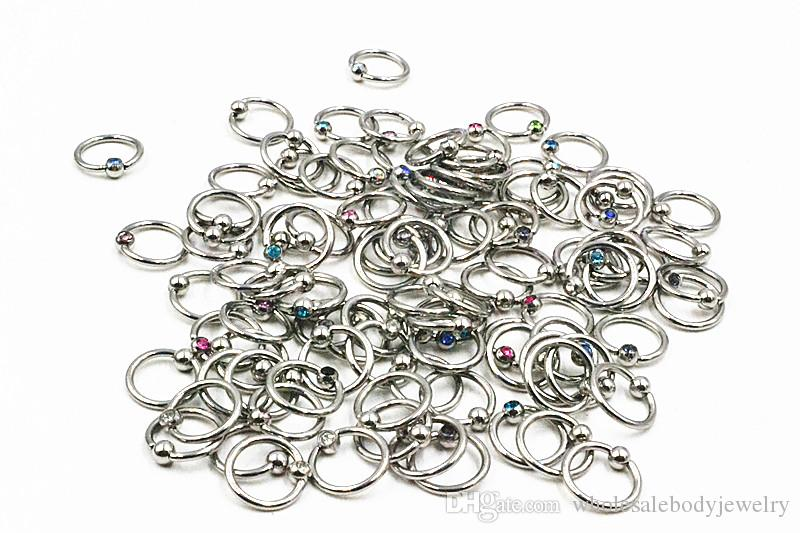 LOT16G ~ 1.2mm Cercle Gems Nez clicker Bague Nez / Oreille / Anneau De Mamelon Utiliser Mulit Anneau corps piercing bijoux BCR Mix Couleurs