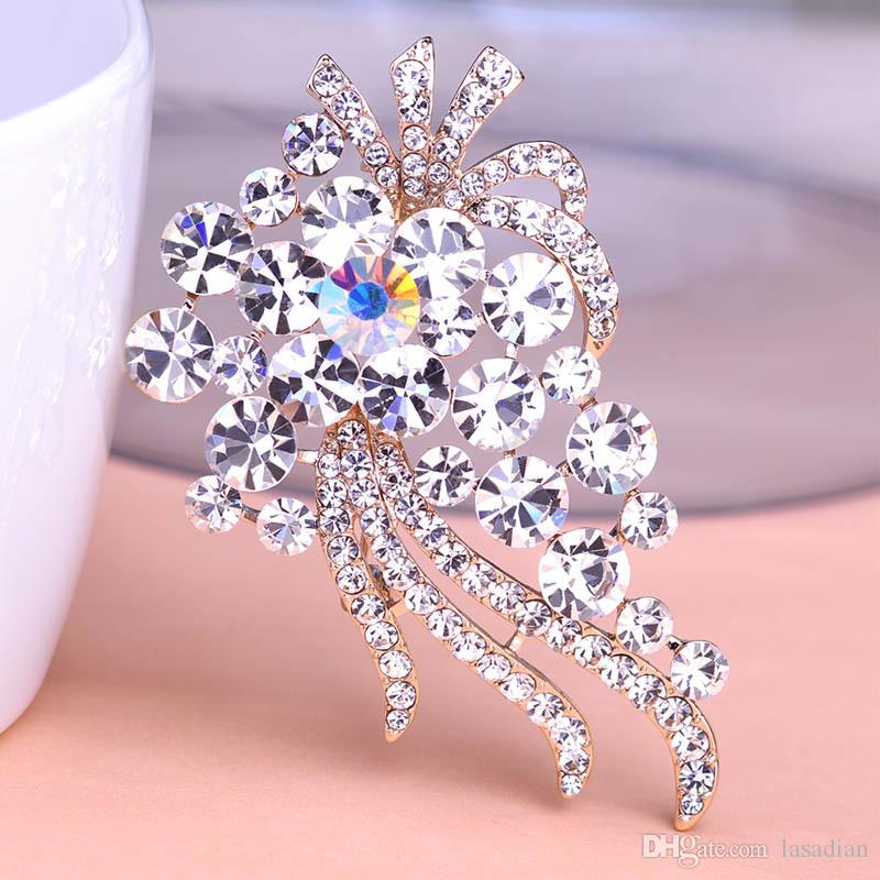 Austrian Colorful Crystal Flowers Large Brooches Corsages For Women Wedding Bijoux Broche Scarf Clip Pin Up Broach Wholesale