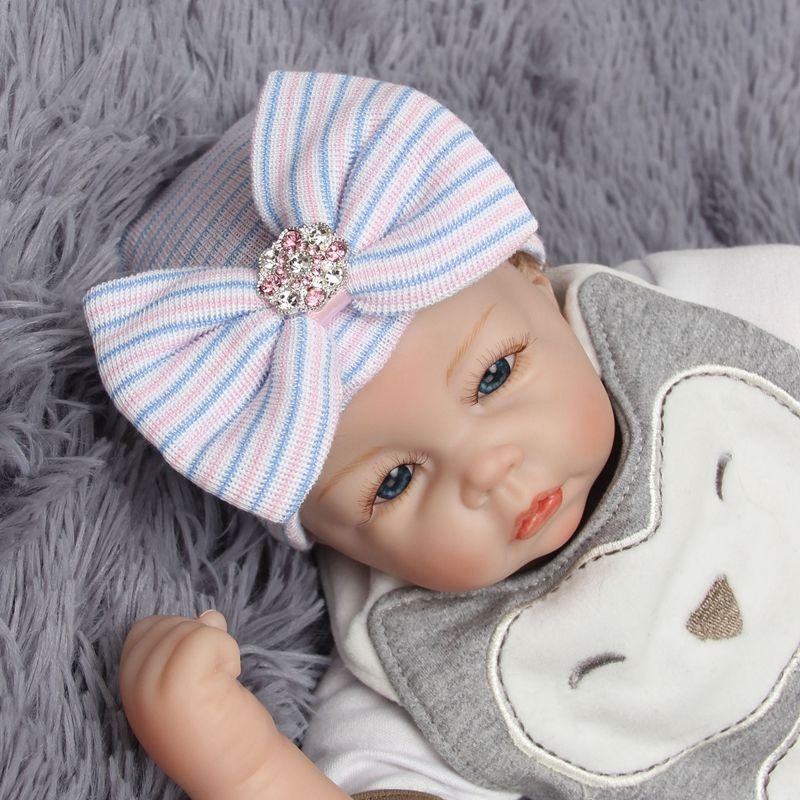 Newborn baby cap 0-3Month babies Knitted hats Boys Girls Toddler Crochet Beanie Hair Baby Hat with diamond brooch babies cap