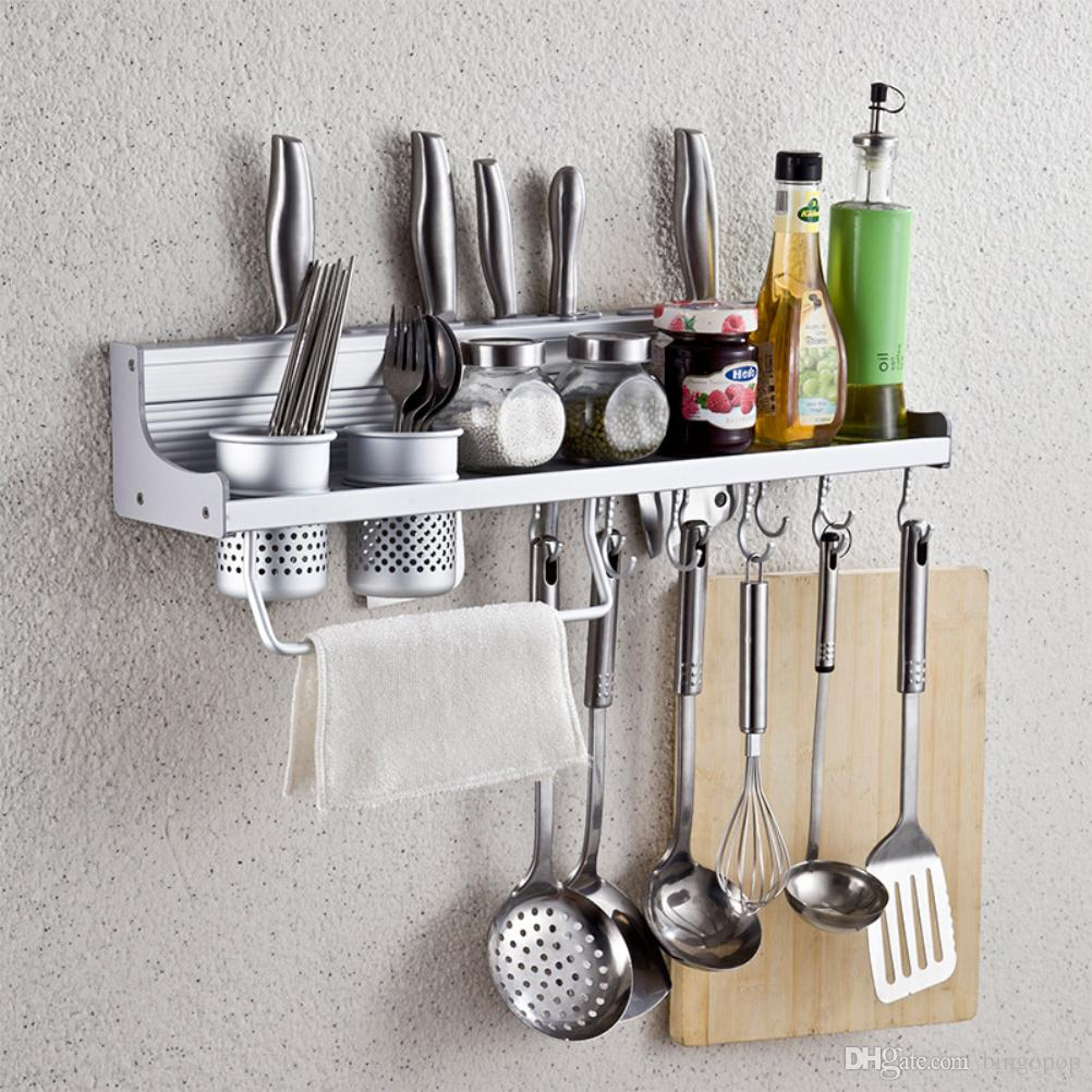 2018 Wall Mounted Kitchen Spice Rack / Utensil / Pot / Pan Hanger Hooks,  Silverware Caddy, Knife Slots, Kitchen Wall Organizer/Shelf From Bingopop,  ...
