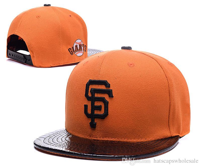 4f20c67909f 2018 Giants Snapback Hat Orange With Leather Brim For Men Classic SF  Embroidered Team Logo Bones Sports Baseball Flat Caps Hip Hop Chapeus Cool Hats  Lids ...