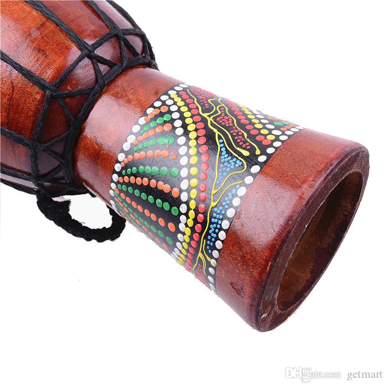 Djembe Drummer Percussion 5 inch Classic Painting Wooden African Style Hand Drum For Sale membranophone