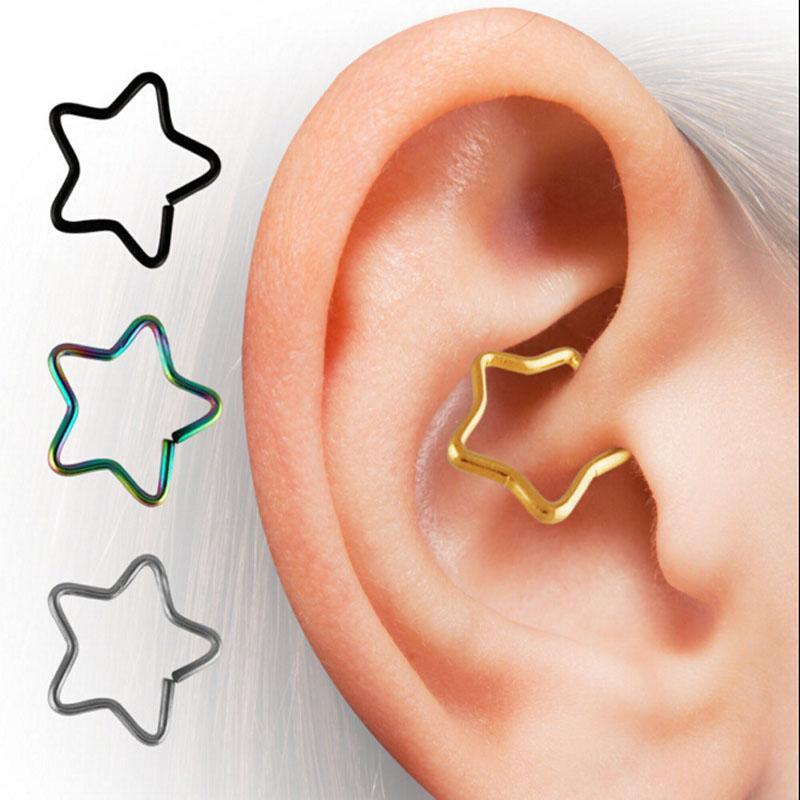 Forma de Estrela de Aço Cirúrgico Daith Piercing Cartilagem Rook Tragus Helix Cativo Ring16g Anéis de Argola Do Corpo Do Nariz