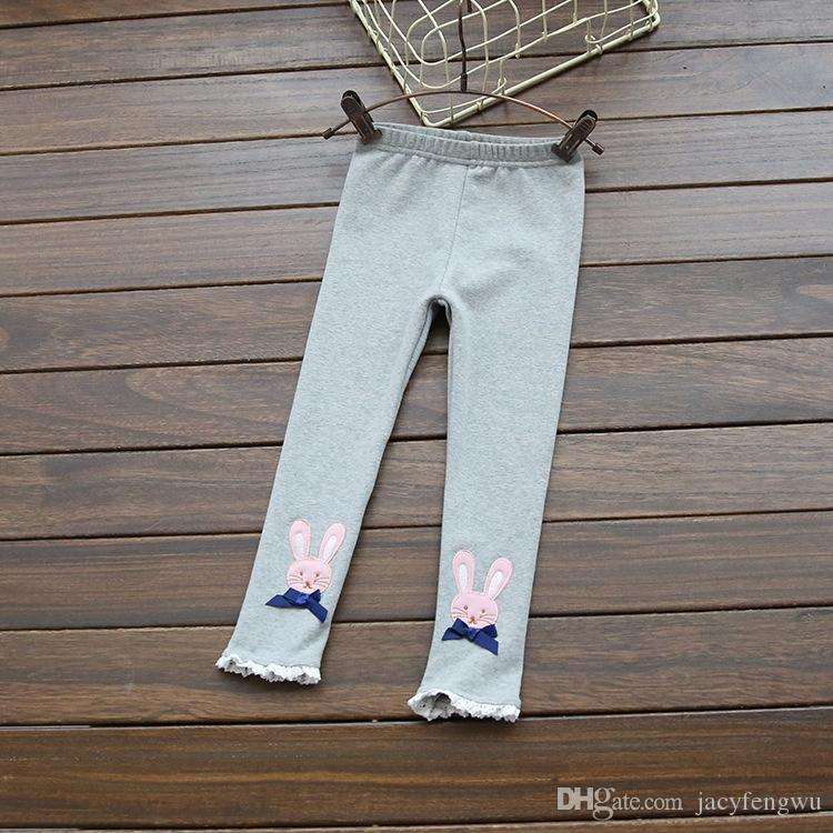 2016 children spring autumn leggings trousers girl rabbit lace butterfly trousers baby cotton tights pants kids safe under wear leisure B005