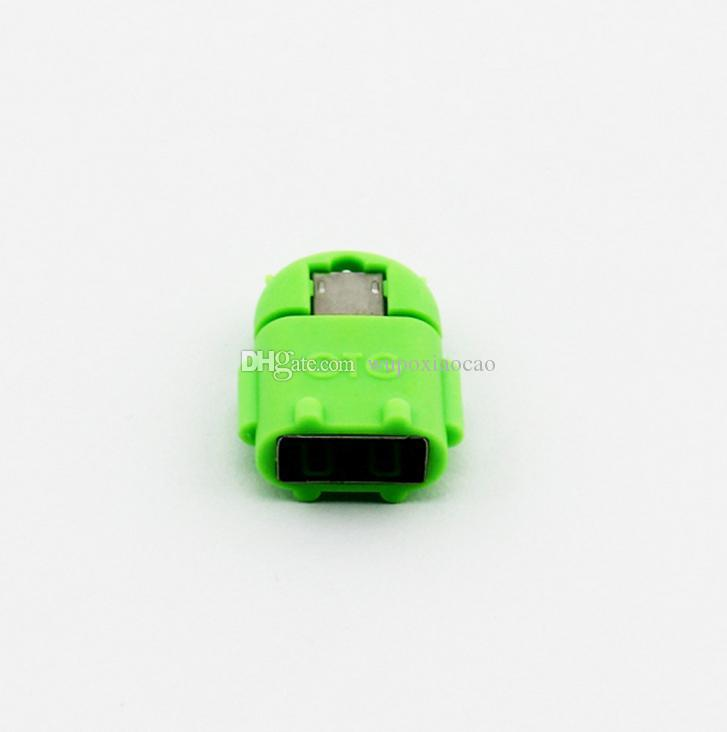 Multi color Option Robot Shape Android Micro USB To USB 2.0 Converter OTG Adapter For Samsung Galaxy S3 S4 S5 wholesale