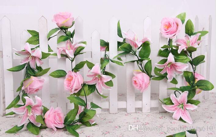 """6.8"""" Pink/White Artificial Lily & Rose Flower Ivy Garland Silk Vine Greenery For Wedding Home Decorative"""