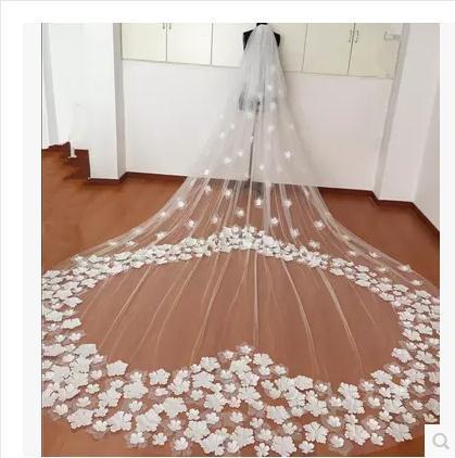 Sparkling Luxury Crystals Real Image Wedding Veils Applique Edge 3