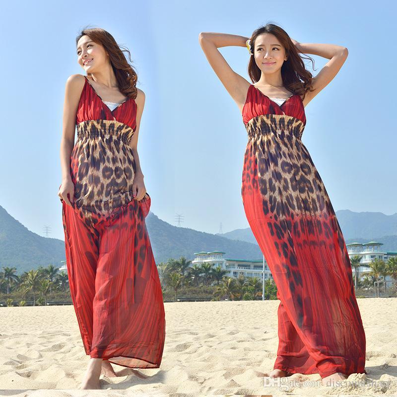 df437fbb9f91 Compre Novas Mulheres Sexy Tamanho Grande Estampa De Leopardo Verão Praia  Vestido Senhoras Plus Size Longo Maxi Vestido Longo Floral Com Decote Em V  ...