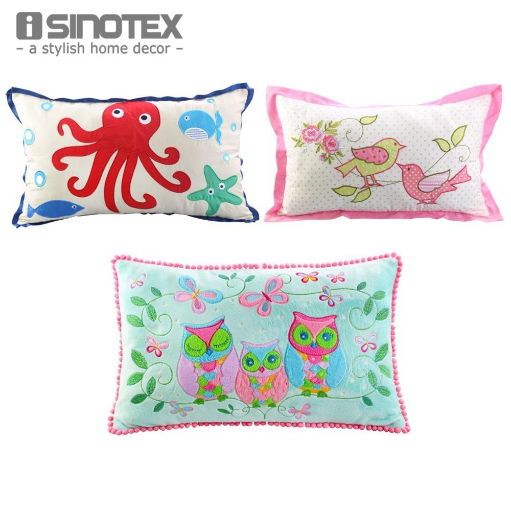Cushion 30cm X 50cm Cartoon Embroidered Applique Decorative Throw