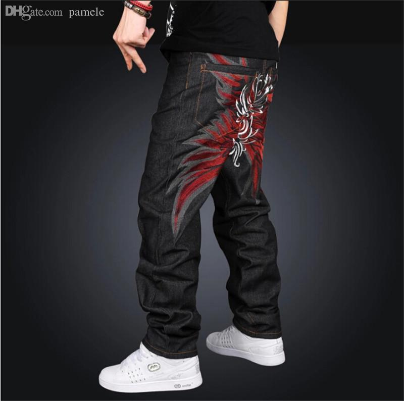 bc12f7106bd2 2019 Wholesale 2016 Latest Design New Boy'S Baggy Jeans Mens Hip Hop Loose  Trousers Big Size Rap Pants For Rapper'S Waist Size 30 42 From Pamele, ...