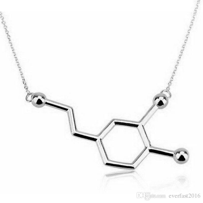 En gros Nouvelle Chimie Structure Pendentif Collier Dopamine Molécule Collier Chimie Collier Minuscule Infinity Hommes Femmes Unisexe Bijoux