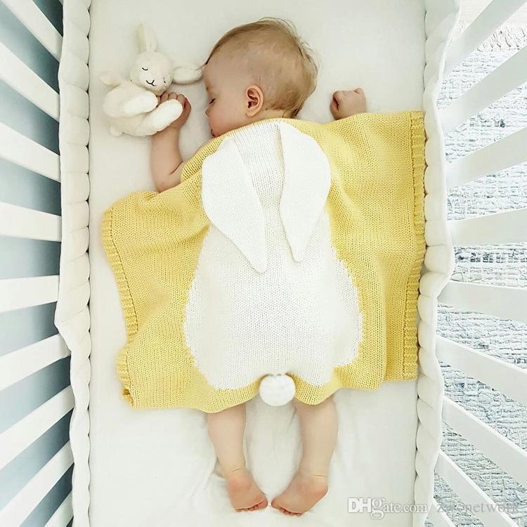 New Arrivals Bebê Mantas Manta orelhas de coelho Crianças fios de algodão de malha mantas decorativas cama Sofá / Air Mantas 100 130 centímetros *