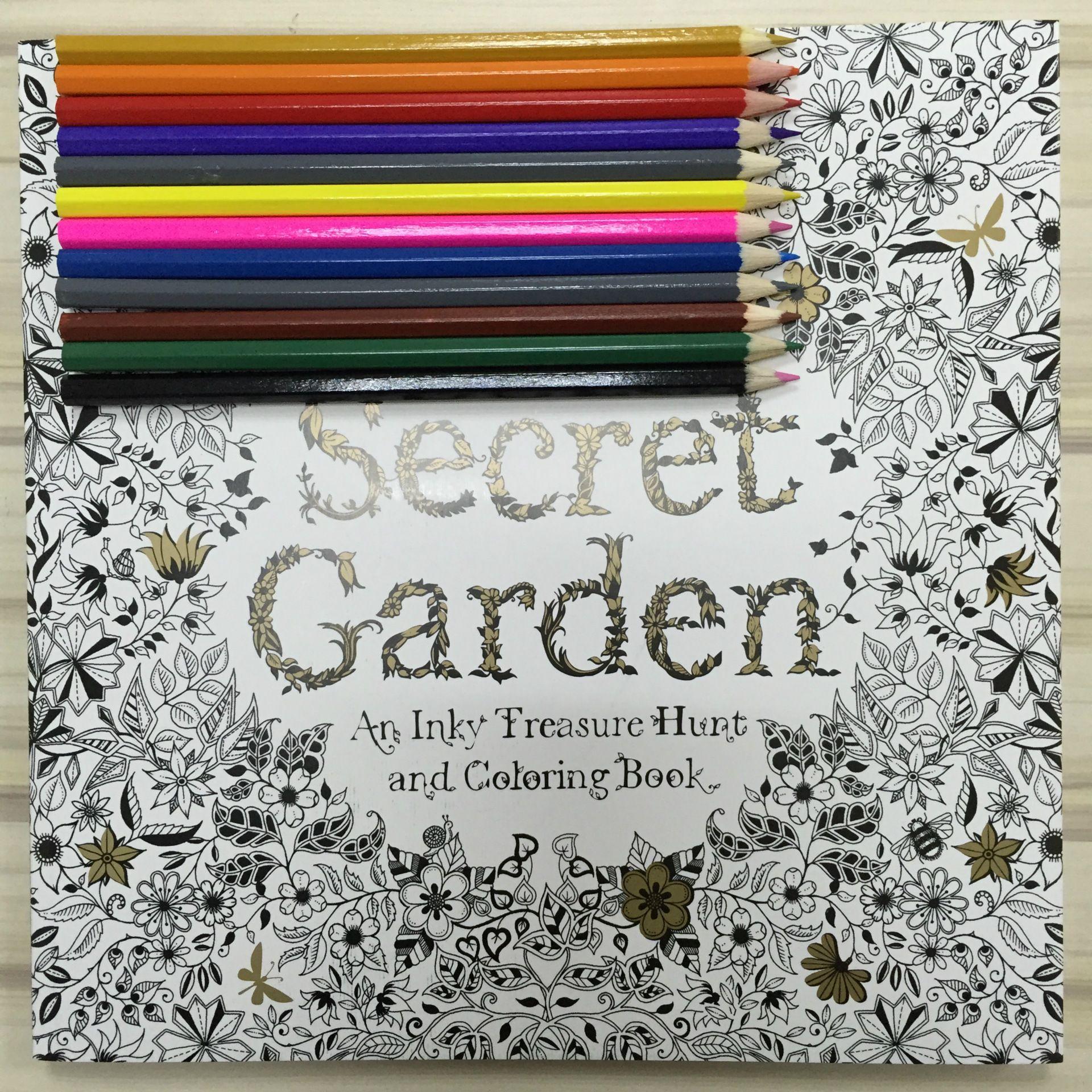 Compre 12 Lápices De Colores + 96 Páginas En Inglés Secret Garden ...